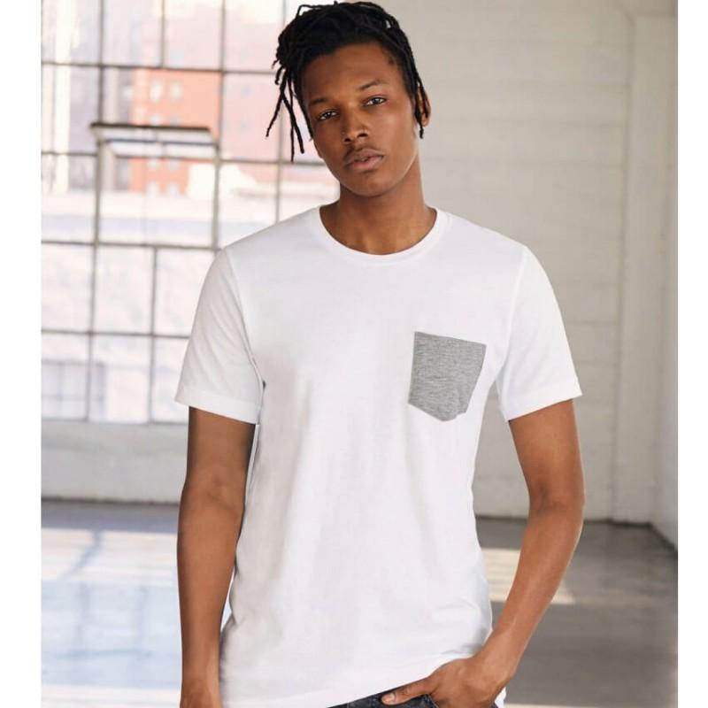 Camiseta blanca con gris jaspeado