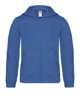 Sudadera capucha y cremallera azul eléctrico
