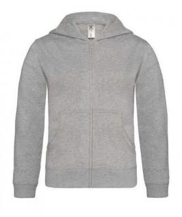 Sudadera capucha y cremallera gris jaspeado