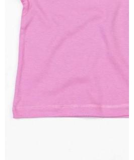 Detalle dobladillo en camiseta rosa chicle