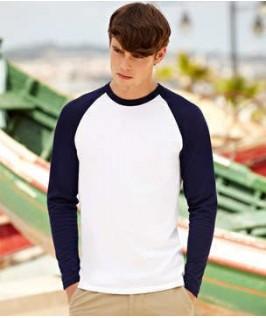 Camiseta baseball blanco con azul marino oscuro
