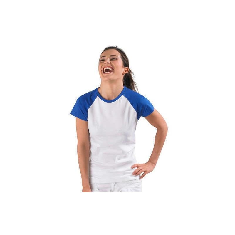 Camiseta blanca con azul eléctrico