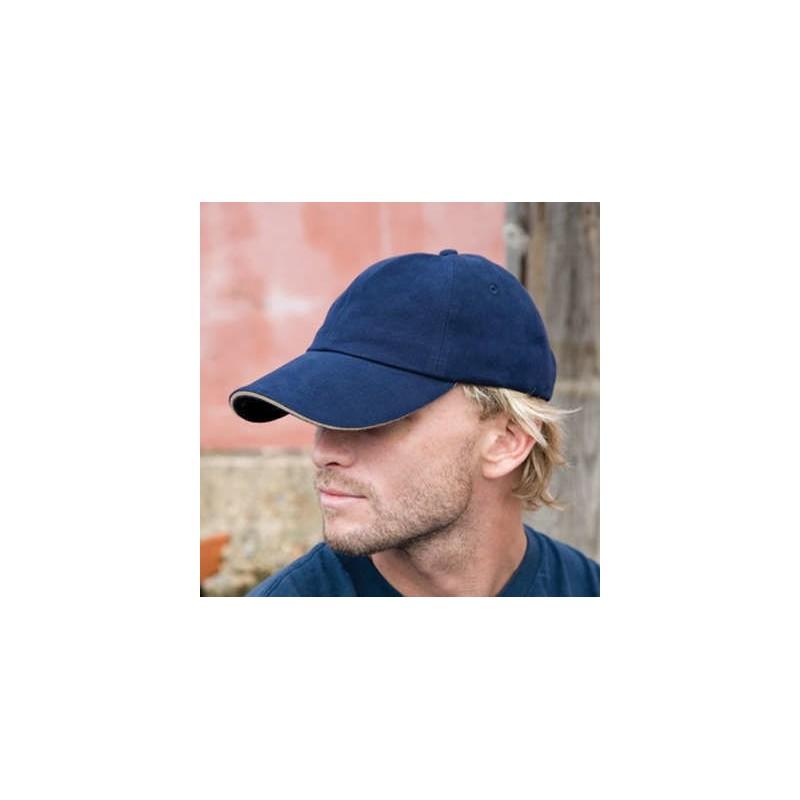 Gorra azul marino con crudo