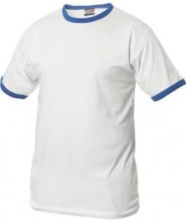 Camiseta blanco con azul eléctrico