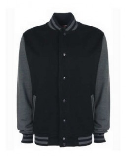 Chaqueta universitaria negro con gris jaspeado oscuro