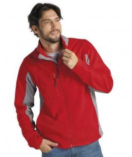 chaqueta polar bicolor rojo con gris