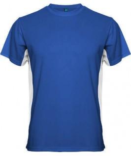 Camiseta azul eléctrico con blanco
