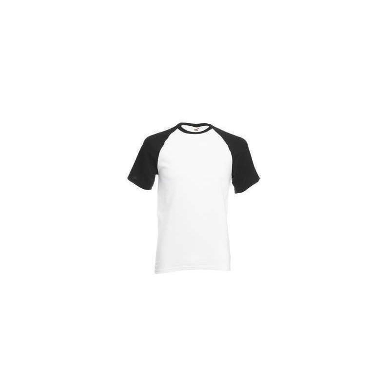 Camiseta baseball blanca con negro