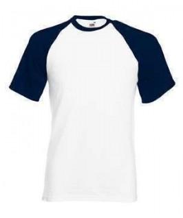 Camiseta baseball blanca con azul marino