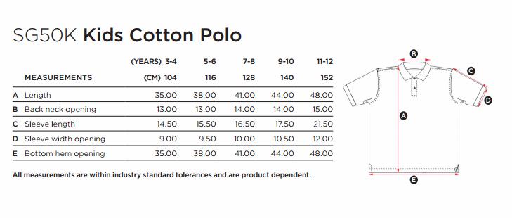 fc8e3957c Guía de tallas para Polo Manga Corta Niño - Niña Piqué de SG